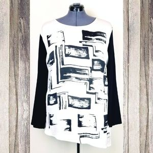 PLUS Size Black & White Abstract Art Blouse